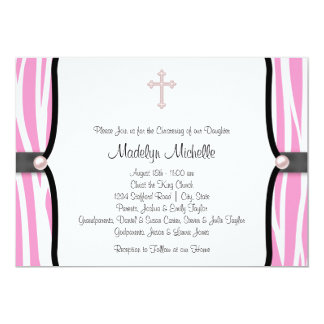 Pink Zebra Christening Card