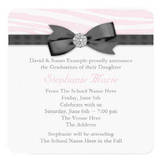 Pink Zebra Graduation Announcement