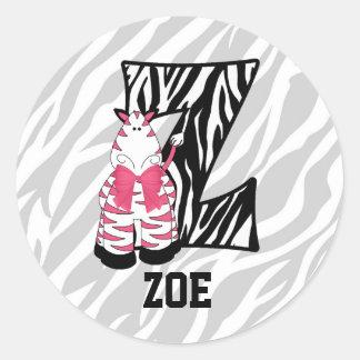 """Pink Zebra Monogram """"Z"""" Personalized Stickers"""