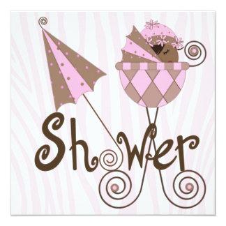Pink Zebra Pink Brown Baby Girl Shower Card