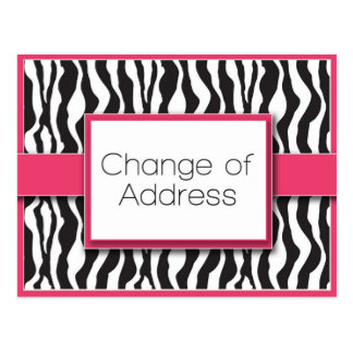 Pink Zebra Print Change of Address Postcards