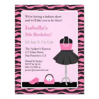 Pink Zebra Print Fashion Show Girls Birthday Party 11 Cm X 14 Cm Invitation Card