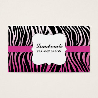 Pink Zebra Print Hair Stylist Hairdresser Salon Business Card