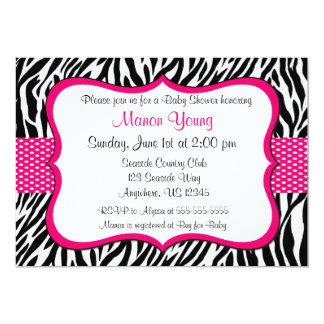 Pink Zebra Print Invitaiton 13 Cm X 18 Cm Invitation Card