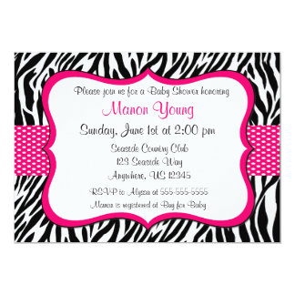 Pink Zebra Print Invitaiton Custom Invitations