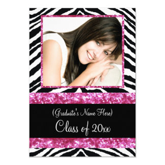 Pink Zebra Sparkle Girls Graduation Party 5x7 Paper Invitation Card