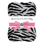 Pink Zebra Sweet Sixteen Birthday Party Personalized Invitations