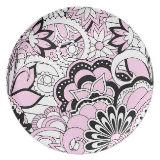 pink zen pattern plate