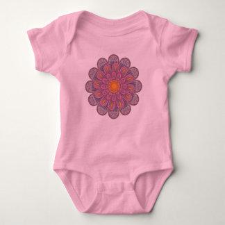 Pink Zinnia Mandala Pattern Baby Bodysuit