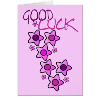 Pinks & purple flowers good luck wishing you best card