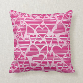 Pinks Striped Hearts Throw Cushions