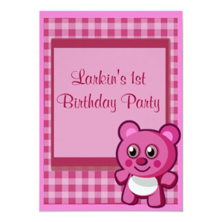 PinkTeddy Bear Girls 1st Birthday 13 Cm X 18 Cm Invitation Card