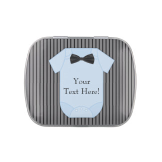 Pinstripe Black and Blue Baby Boy Shower Candy Jelly Belly Tins