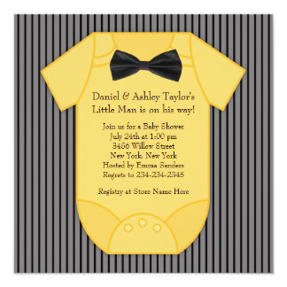 Pinstripe Black and Yellow Baby Shower Personalized Invites