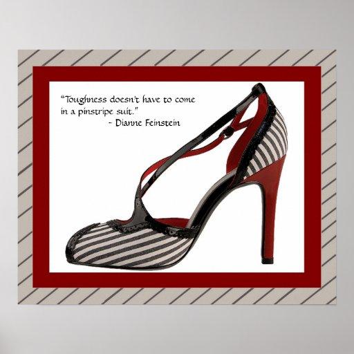 Pinstripe shoe print w/quote