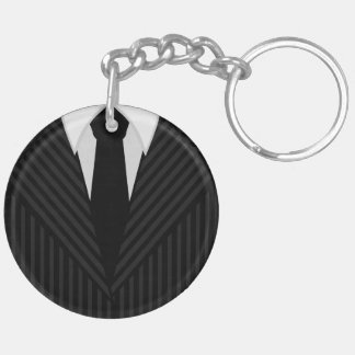 Pinstripe Suit And Tie Round Double Sided Keychain Acrylic Key Chains