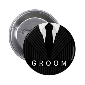 Pinstripe Suit Bachelor Party Groom Round Badge Pinback Buttons