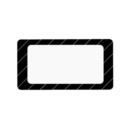 Pinstriped Black and White Blank Address Labels
