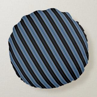 Pinstripes blue black white diagonal stripes round cushion