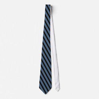 Pinstripes blue black white diagonal stripes tie