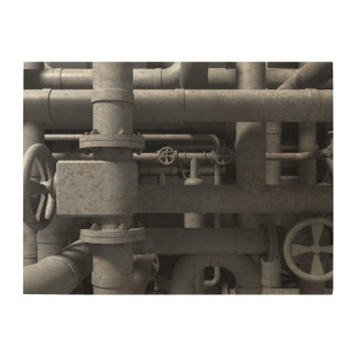 Pipes and Valves Wood Wall Decor