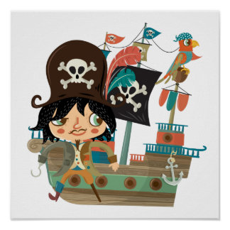 Pirate and Pirate Ship Poster