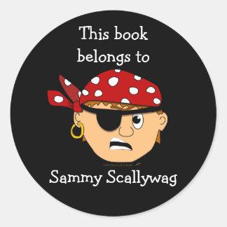 Pirate Boy Custom Bookplate Template for Kids Round Sticker