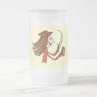Pirate Cartoon. Frosted Glass Mug