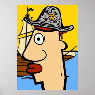 Pirate Cartoon Head Poster