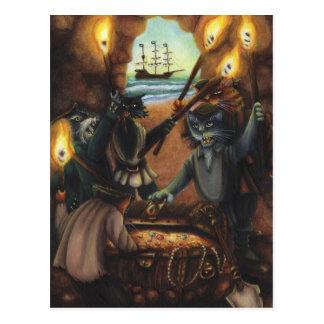 Pirate Cats Treasure Island Cave Fantasy Art Card Postcard
