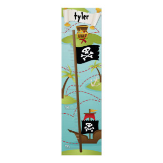 Pirate Custom Name Growth Chart Boy Poster