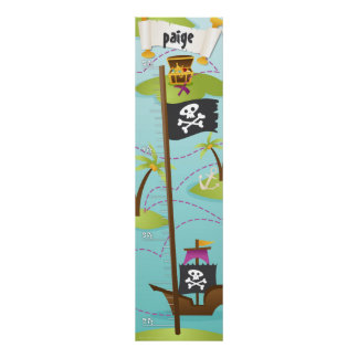 Pirate Custom Name Growth Chart Girl Poster