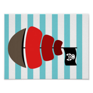 Pirate design with striped background poster