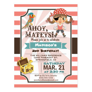 Pirate Girl; Coral Pink & Brown Birthday Party Postcard