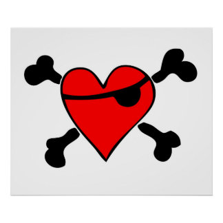 Pirate Heart (CLEAR background) Print