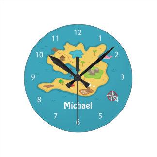 Pirate Island Adventure Treasure Map Boys Room Clock