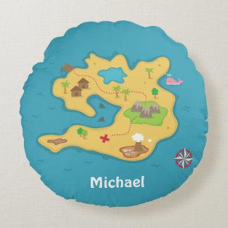 Pirate Island Adventure Treasure Map Boys Room Round Pillow