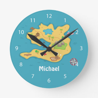 Pirate Island Adventure Treasure Map Boys Room Round Clock