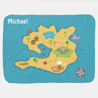 Pirate Island Adventure Treasure Map For Baby Boys Receiving Blankets