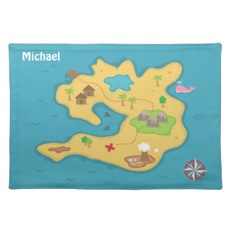 Pirate Island Adventure Treasure Map For Boys Cloth Placemat