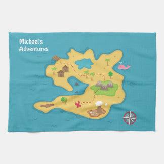 Pirate Island Adventure Treasure Map For Boys Towel