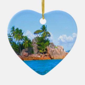 pirate island seychelles palm trees sea ceramic heart decoration