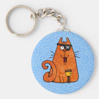 pirate kitty basic round button key ring