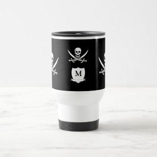 Pirate & monogram travel mug