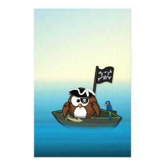 pirate owl - birthday party stationery