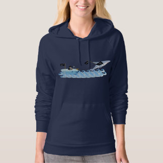 Pirate penguin with shark hoodie