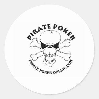 pirate poker classic round sticker
