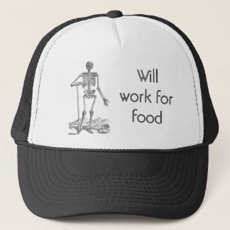 Pirate Skeleton Will Work for Food Trucker Hat