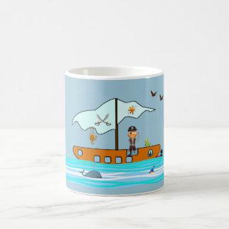 Pirate with ship basic white mug