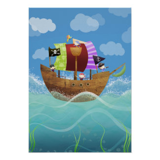 Pirates ahoy poster print